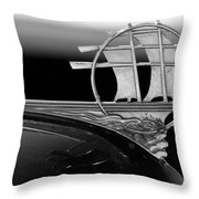 1934 Plymouth Hood Ornament Black And White Throw Pillow