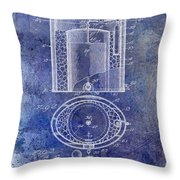 1935 Beer Equipment Patent Blue Throw Pillow