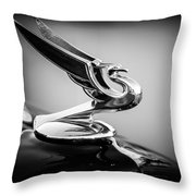1935 Chevrolet Sedan Hood Ornament -0116bw Throw Pillow