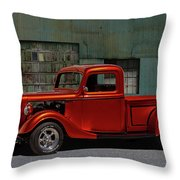 1935 Ford Pickup Parked At Garage Throw Pillow