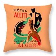 1935 Hotel Aletti Casino Algeria Throw Pillow