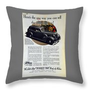 1936 Buick Century Classic Ad Throw Pillow
