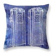 1936 Gas Pump Patent Blue Throw Pillow