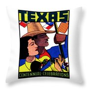 1936 Texas Centennial Poster N.2 Throw Pillow