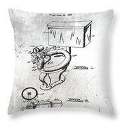 1936 Toilet Bowl Patent Antique Throw Pillow