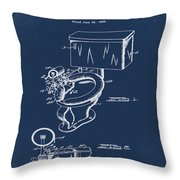1936 Toilet Bowl Patent Blue Throw Pillow