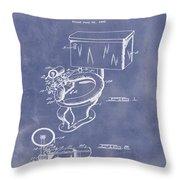 1936 Toilet Bowl Patent Blue Grunge Throw Pillow
