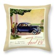1937 Ford Car Ad Throw Pillow