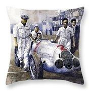 1937 Italian Gp Mercedes Benz W125 Rudolf Caracciola Throw Pillow