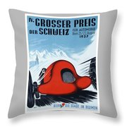 1937 Switzerland Grand Prix Racing Poster Throw Pillow