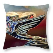 1938 Cadillac V-16 Sedan Hood Ornament Throw Pillow