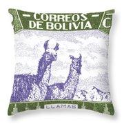 1939 Bolivia Llamas Postage Stamp Throw Pillow by Retro Graphics