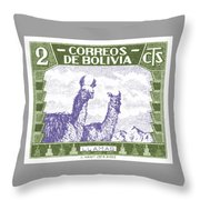 1939 Bolivia Llamas Postage Stamp Throw Pillow