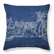 1939 Brough Superior Ss100 Blueprint Blue Background Throw Pillow