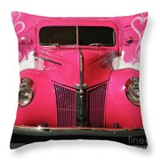 1940 Classic Hot Pink Ford Throw Pillow