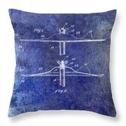 1940 Cymbal Patent Blue Throw Pillow