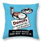 1940 Donut Poster Throw Pillow