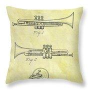 1940 Trumpet Patent Throw Pillow