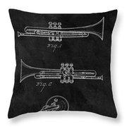 1940 Trumpet Patent Illustration Throw Pillow