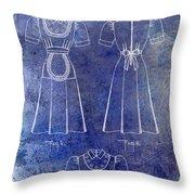 1940 Waitress Uniform Patent Blue Throw Pillow