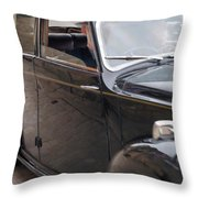 1940s Couple Driving In A Vintage Car Throw Pillow