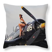 1940s Style Navy Pin-up Girl Sitting Throw Pillow