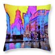 1940s Times Square Rain Throw Pillow