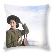 1940s Woman At The Seaside  Throw Pillow