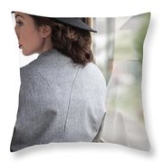 1940s Woman Making A Journey On Public Transport Throw Pillow