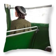 1940s Woman On A Bus Throw Pillow