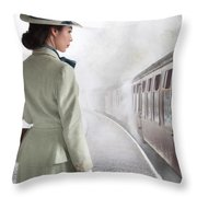 1940's Woman On A Railway Platform With Steam Train  Throw Pillow