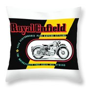 1941 Royal Enfield Motorcycle Ad Throw Pillow