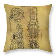 1942 Chopper Motorcycle Patent Throw Pillow