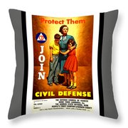 1942 Civil Defense Poster By Charles Coiner Throw Pillow