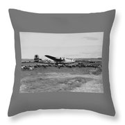 1944 B-24 H Plane In Field W/ Sheeep Pantanella Airfield Italy Throw Pillow
