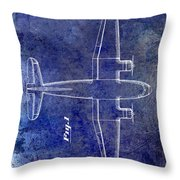 1945 Transport Airplane Patent Blue Throw Pillow