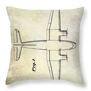 1945 Transport Airplane Patent Throw Pillow
