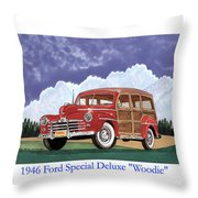 1946 Ford Woody Throw Pillow