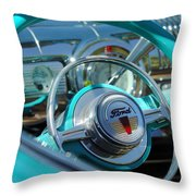 1947 Ford Deluxe Convertible Steering Wheel Throw Pillow