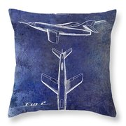 1947 Jet Airplane Patent Blue Throw Pillow