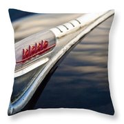 1947 Plymouth Hood Ornament 1 Throw Pillow