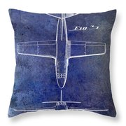1949 Airplane Patent Drawing Blue Throw Pillow