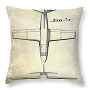 1949 Airplane Patent Drawing Throw Pillow