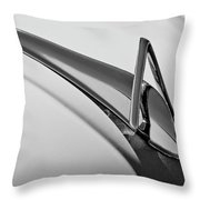 1949 Hudson Super Six  Hood Ornament -0436bw Throw Pillow