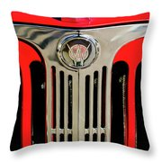 1949 Willys Jeepster Hood Ornament And Grille Throw Pillow
