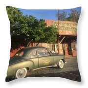 1950 Chevrolet Coupe In Front Of Portal Store Throw Pillow