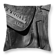 1950 Chevrolet Truck Emblem Black And White Throw Pillow