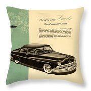 1950 Lincoln 6 Passenger Coupe Throw Pillow