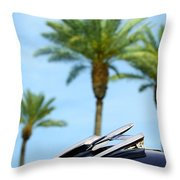 1950 Oldsmobile Rocket 88 Convertible Hood Ornament And Palms Throw Pillow