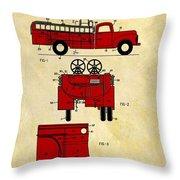 1950 Red Firetruck Patent Throw Pillow